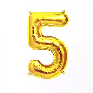 40 Inches Number 5 Golden Foil Balloon