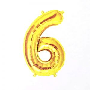 40 Inches Number 6 Golden Foil Balloon