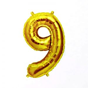 40 Inches Number 9 Golden Foil Balloon
