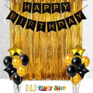 017B Model - Birthday Decoration Combo - Black & Golden - Set of 17 Pcs