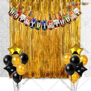 017K - Birthday Party Decoration Combo - Black & Golden - Set of 34