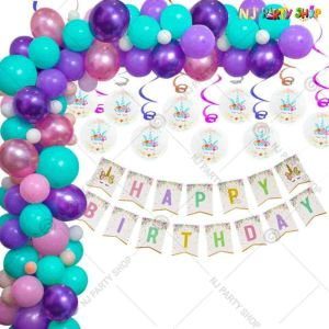 019Q - Unicorn Theme Birthday Party Decoration Combo - Set of