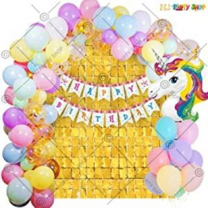 1A - Unicorn Theme Happy Birthday Decoration - Pink - Set Of 69