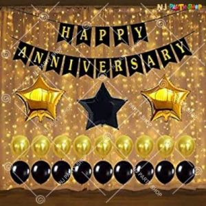 1A - Happy Anniversary Decoration Combo - Black & Golden - Set of 40