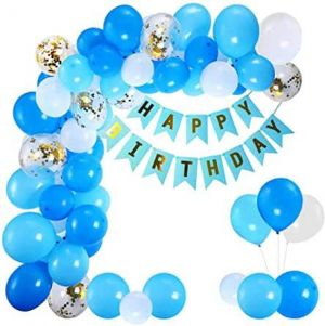 1A - Happy Birthday Decoration Combo - Blue & White - Set Of 63