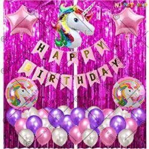 1A - Unicorn Theme Happy Birthday Decoration - Pink - Set Of 50
