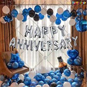 1B - Happy Anniversary Decoration Combo - Blue & Silver - Set Of 66
