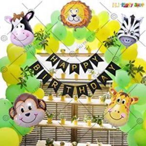 1B - Jungle Theme Happy Birthday Decoration Combo - Set Of 58