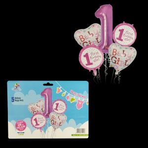 1st Birthday Girl Foil Balloons - Set of 5