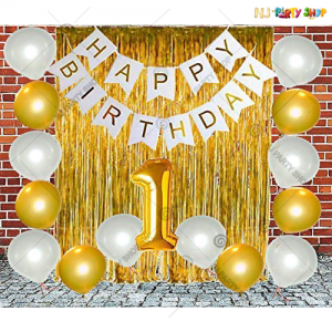 012M - 1st Birthday Golden Theme Birthday Decoration Combo Kit - Set of 36