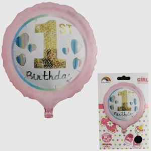 1st Birthday Girl Foil Balloon - Model 002