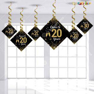 20th Happy Birthday Swirls Decoration - Model Y1