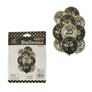25th Birthday Rubber Balloons - Set of 10
