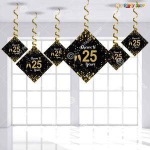 25th Happy Birthday Swirls Decoration - Model Y1