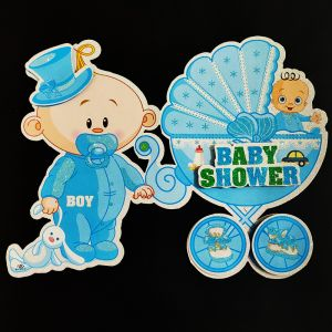 3D Glitter Baby Shower Big Hanging/Sticker Decoration - Blue - Model 1001