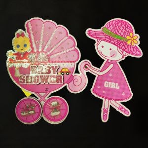 3D Glitter Baby Shower Big Hanging/Sticker Decoration - Pink - Model 1001