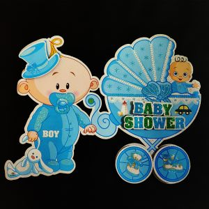 3D Glitter Baby Shower Small Hanging/Sticker Decoration - Blue - Model 1001