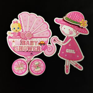 3D Glitter Baby Shower Small Hanging/Sticker Decoration - Pink - Model 1001