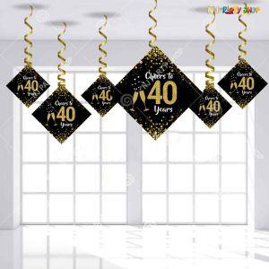 40th Happy Birthday Swirls Decoration - Model Y1