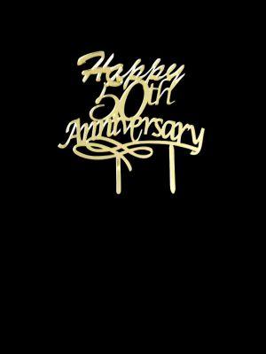 50th Anniversary Cake Topper - Golden Acrylic