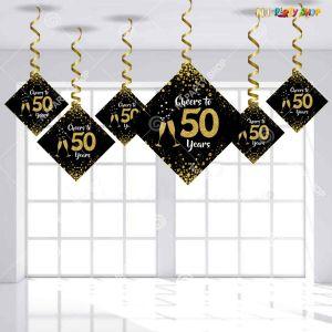 50th Happy Birthday Swirls Decoration - Model Y1