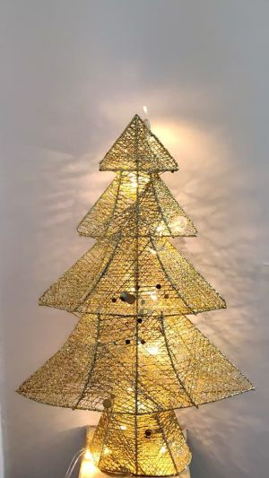 Christmas Tree With Lights Xmas Decoration - Metal