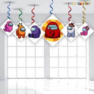 Among Us Theme Happy Birthday Swirls - Set of 6