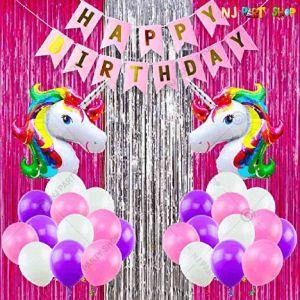 09T - Unicorn Theme Birthday Decoration Combo - Set of 48