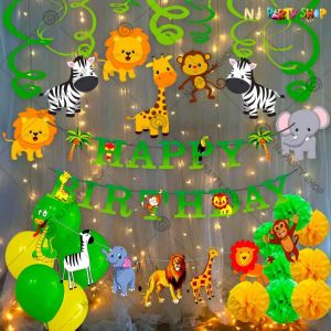 018T -Jungle Theme Birthday Decoration Combo - Set of 77