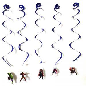 Avenger Theme Swirls/Streamers - Set of 5