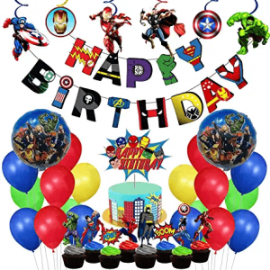 Avengers Theme Birthday Decoration Combo - Set of 68