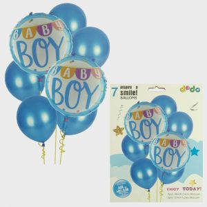 Baby Boy Foil Set With Rubber Balloons - Set of 7