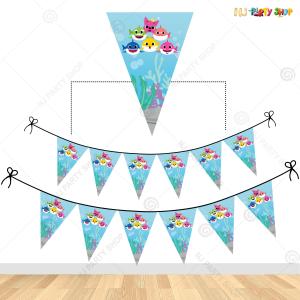 Baby Shark Theme Flag Banner Decoration