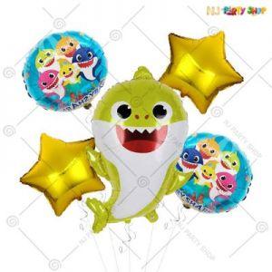 Baby Shark Theme Foil Balloon Set Of 5