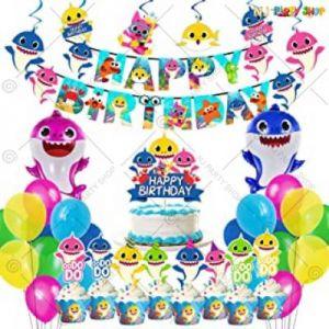 Baby Shark Theme  Happy Birthday Decoration - Combo -Set Of 42