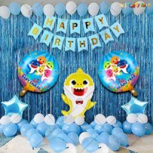 Baby Shark Theme Happy Birthday Decoration Combo - Set Of 40
