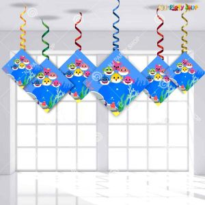 Baby Shark Theme Happy Birthday Swirls Decoration - Model Y1