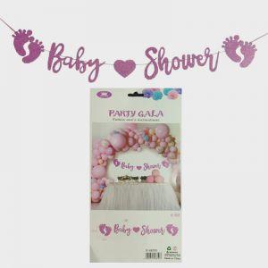 Baby Shower Banner - Pink Glitter