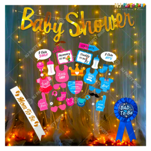 016M - Baby Shower Decoration Combo Kit With Photo Booth Props - Set of 43