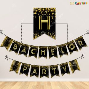 Bachelor Party Banner - Black & Golden