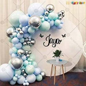 Balloon Arch Decoration Garland Kit - Blue & Silver - Set Of 62