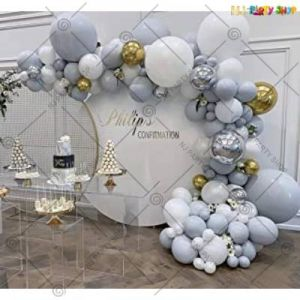 Balloon Arch Decoration Garland Kit - Sliver  & White - Set Of 62