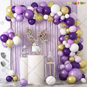 Balloon Arch Decoration Garland Kit -Purple & White - Set Of 97