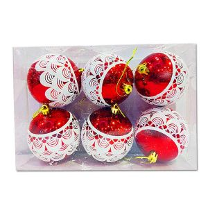 Big Red Balls With Design - Christmas Tree Decoration Ornaments - Model Y5