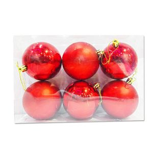 Big Red Balls With Design - Christmas Tree Decoration Ornaments - Model Y7