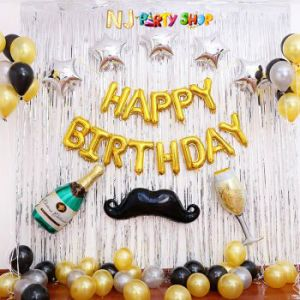 1114A Model - Birthday Decoration Combo Kit - Silver & Golden