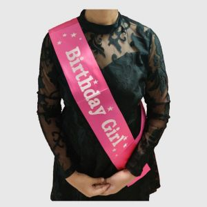 Birthday Girl Sash - Dark Pink & White