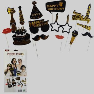 Birthday Selfie Booth & Photo Props - Black & Golden