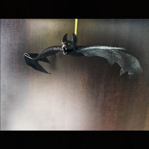 Black Bat Hanging Scary Halloween Decoration - Yellow Eyes