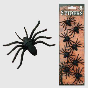 Black Plastic Spiders - Set of 8